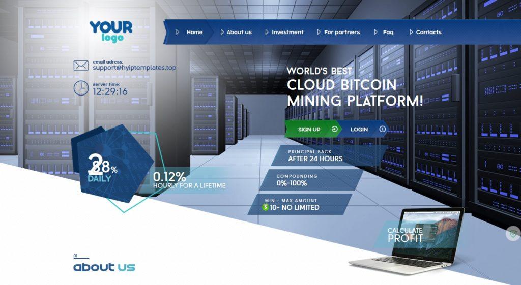 Premium Bitcoin Hyip Script With Mining Theme