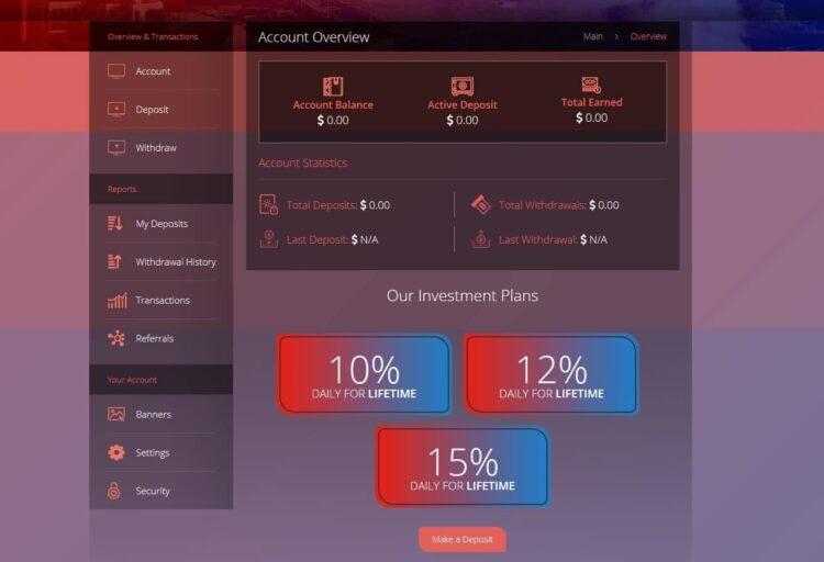 Premium Bitcoin Hyip Script Custom Design 2 User Dashboard