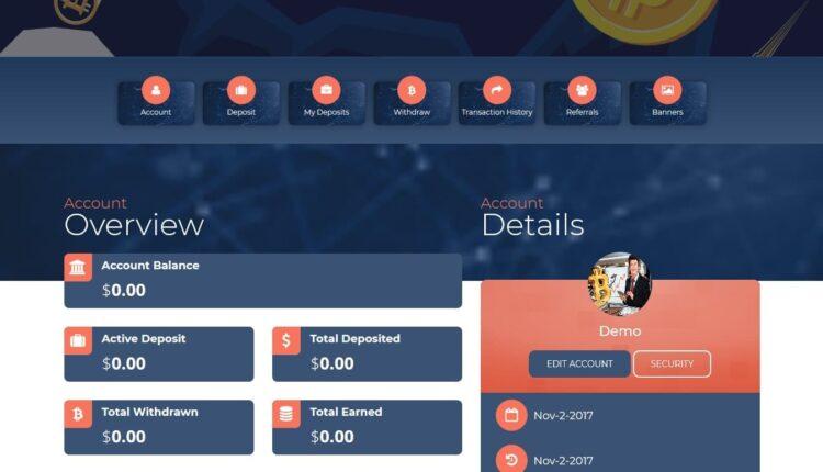 Premium Bitcoin Hyip Script Custom Design 4 User Panel