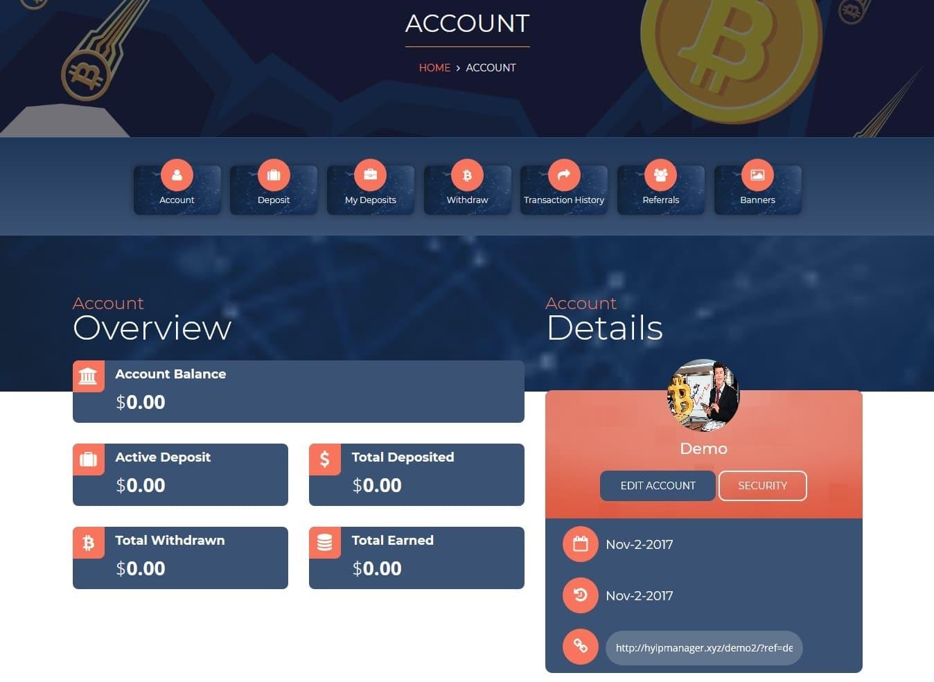 Premium Bitcoin Hyip Script Custom Design 4