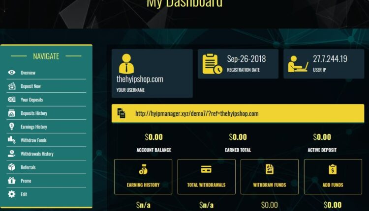 Premium Bitcoin Hyip Script Custom Design 6 User Area