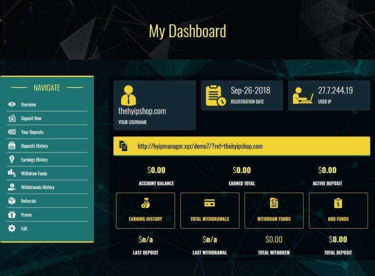 Premium Bitcoin Hyip Script Custom Design 6 User Area