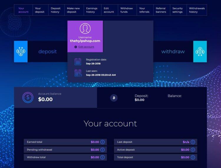 Premium Bitcoin Hyip Script Custom Design 7 User Panel
